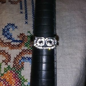 Stamped 925 owl ring with white sapphires.